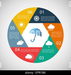 Weather infographics. Design elements for climate and temperature report. Vector illustration in vintage colors - Stock Photo
