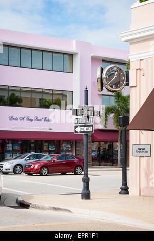Florida Palm Beach Worth Avenue luxury shopping street road palm trees Tourneau jewelers shop store clock Real Estate - Stock Photo