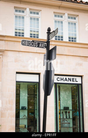 Florida Palm Beach Worth Avenue luxury shopping street road sign road sign road Chanel shop store - Stock Photo