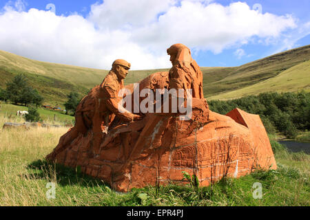 Sculpure work at the site of the Ffaldau coal mine, Blaengarw, Bridgend County - Stock Photo