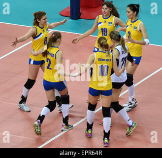 Tianjin, China. 21st May, 2015. Players of Kazakhstan celebrate for score during the group D match against the Philippines - Stock Photo