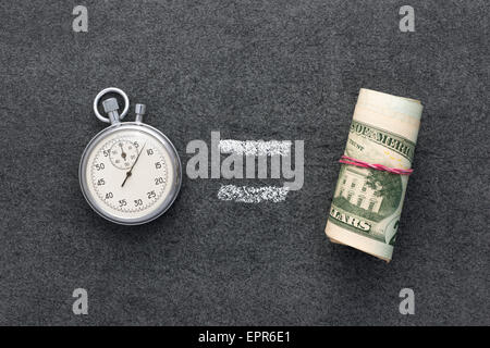 time is money concept on the blackboard - Stock Photo