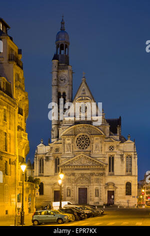 Twilight over Eglise Saint Etienne du Mont, Paris, France - Stock Photo