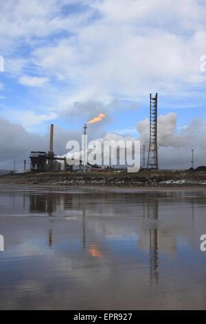 Port Talbot steelworks from Morfa Beach, Margam - Stock Photo