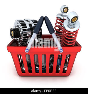 Many auto parts in shop basket (done in 3d) - Stock Photo
