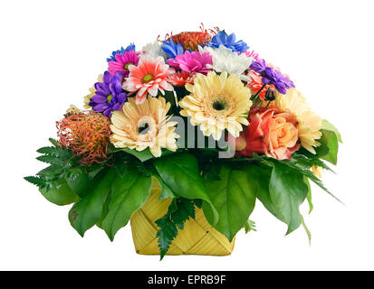 The withering spring bouquet for the girlfriend in a yellow wattled basket. Isolated on white - Stock Photo