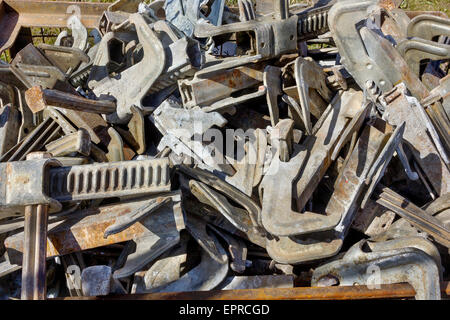 Rusty fixing steel elements from construction designs and mechanisms. Industrial background - Stock Photo