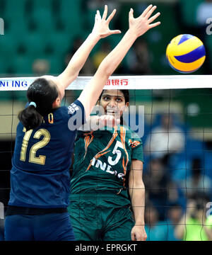 Tianjin, China. 21st May, 2015. Poornima Muraleedharan (R) of India competes during the group A match against China - Stock Photo