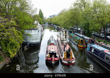 Regent's Canal running through Little Venice in Maida Vale, London, England. - Stock Photo