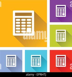 illustration of flat design set icons for calculator - Stock Photo