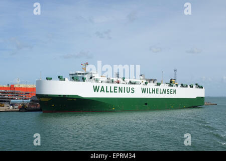 A ship operated by Wallenius Wilhelmsen Logistics, docked in Southampton, England. - Stock Photo