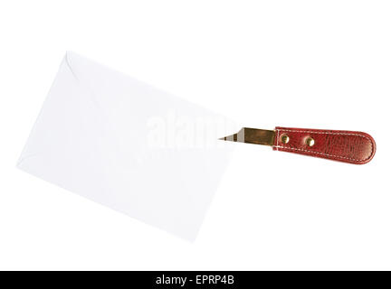 Opening letter with a special knife - Stock Photo