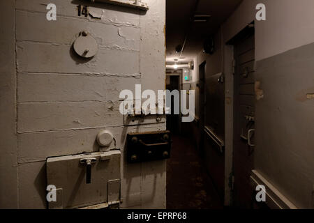 Basement prison cells at the former KGB, or 'Cheka' headquarters known by locals as the Corner House in Riga capital - Stock Photo