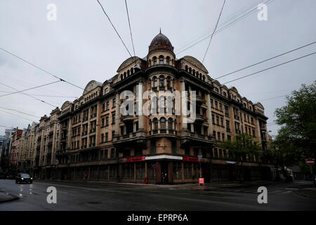 Exterior view of the former KGB, or 'Cheka' headquarters known by locals as the Corner House in Riga capital of - Stock Photo