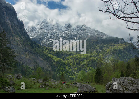 Snow covered mountains and rocky peaks in Alps - Stock Photo