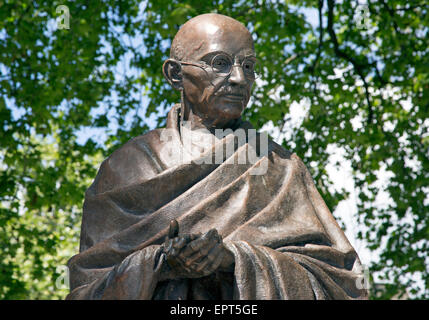 Statue of Mahatma Gandhi by British sculptor Philip Jackson in Parliament Square, London - Stock Photo