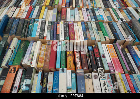 Secondhand paperback books for sale in Hay on Wye Powys Wales UK - Stock Photo