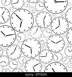 Seamless black-and-white clock pattern for background - Stock Photo