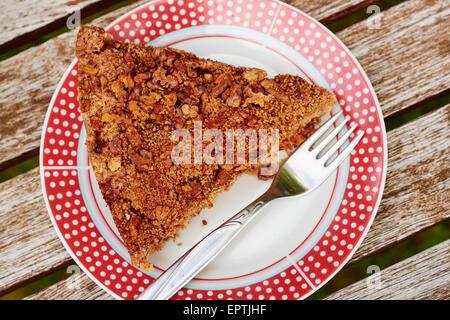 Rhubarb Coffeecake with Walnut Streusel Topping - Stock Photo