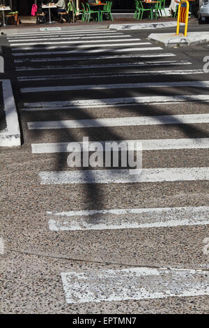 Shadow of a palm tree over a pedestrian crossing in Bronte, Sydney - Stock Photo