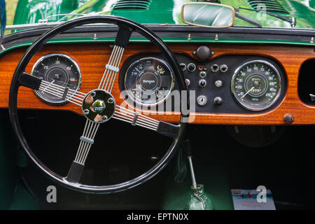 Dashboard of a green Morgan 4 British Sports Car at a show in Vancouver - Stock Photo