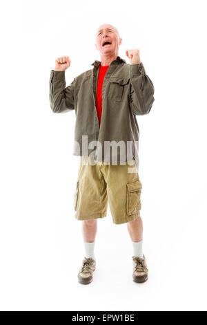 senior caucasian man isolated on a white background - Stock Photo