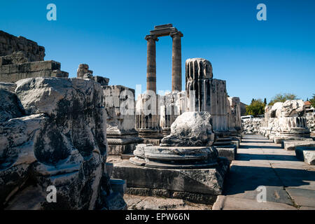 Ruins of columns and pillars of the Temple of Apollo in Didim, Aydin Province - Stock Photo