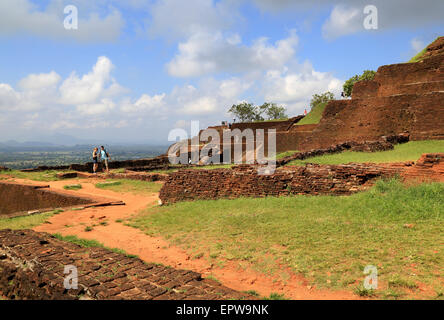 Buildings of rock palace fortress on rock summit, Sigiriya, Central Province, Sri Lanka, Asia - Stock Photo