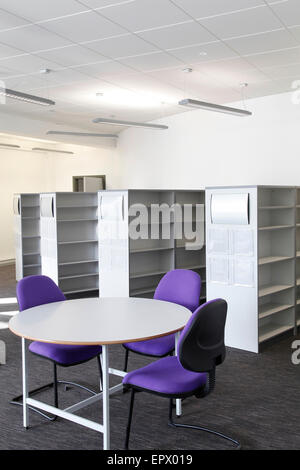 Library with empty bookshelves in Weston College, 'The Hub', Weston Super-Mare, Somerset, England, UK - Stock Photo