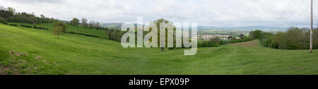 Panorama of part of the vale of Evesham UK with Malvern hills in the background - Stock Photo