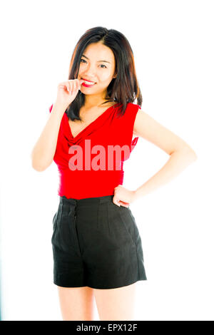 Attractice Asian woman isolated on a white background - Stock Photo