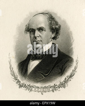 Antique c1870 steel engraving of Salmon P. Chase. Salmon Portland Chase (1808-1873) was an American politician and - Stock Photo