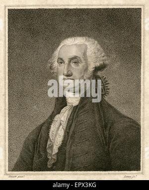 Antique 1812 steel engraving of George Washington, after the Gilbert Stuart painting. George Washington (1732 Ð - Stock Photo