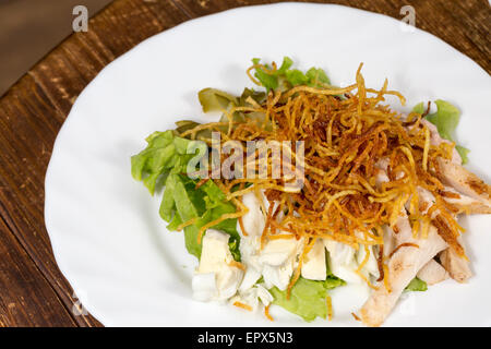 Close up dish salad with egg and vegetables - Stock Photo