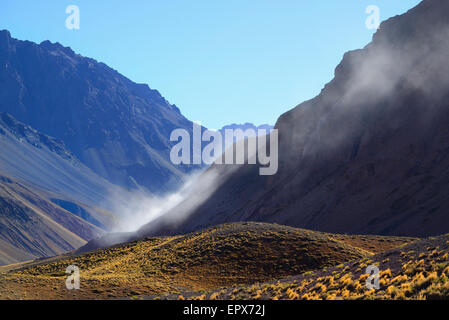 Argentina, Mendoza, Aconcagua Provincial Park, Landscape with mountain range and valley - Stock Photo