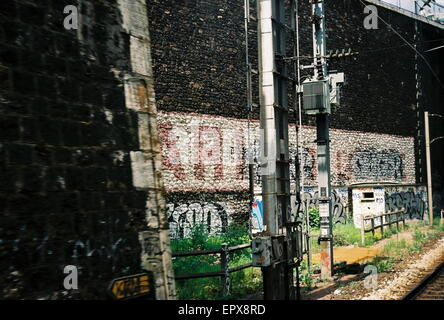 AJAXNETPHOTO. PARIS, FRANCE. - PARIS DEFACED - APPROACHING GARE ST.LAZARE TRAIN STATION; NAME ON WALL LEADING TO - Stock Photo