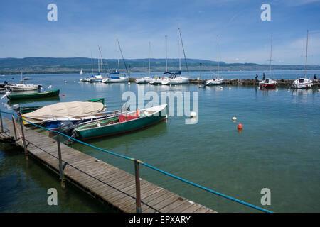 Lake Geneva (Lac Léman) from Yvoire, Haute-Savoie, Rhône-Alpes, France - Stock Photo