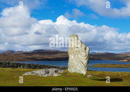 One of the Callanish Stones, Isle of Lewis, Outer Hebrides, Scotland UK - Stock Photo