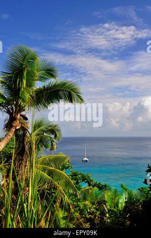 Catamaran boat view from la digue island, seychelles - Stock Photo