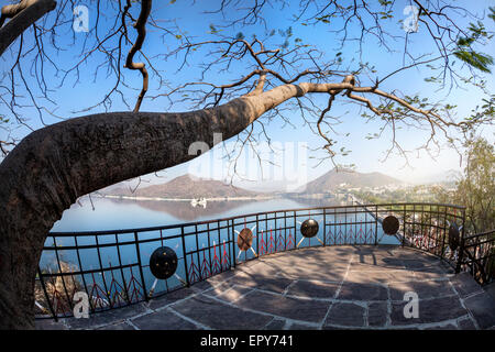 Fateh Sagar lake and Udaipur city view from the Nehru park in Rajasthan, India - Stock Photo