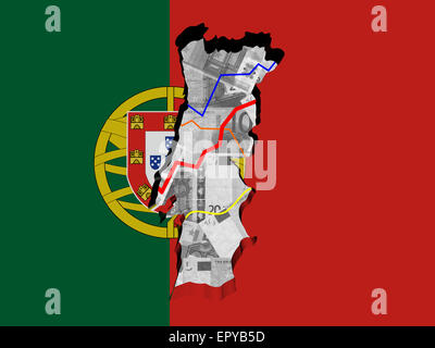 Portugal Map Flag On Euros Illustration Stock Photo Royalty Free - Portugal map flag