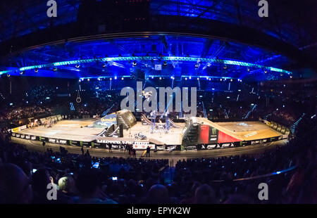 Zurich, Switzerland. 22nd May, 2015. Zurich Hallenstadion, packed with ramps and tracks for the 'Masters of Dirt' - Stock Photo