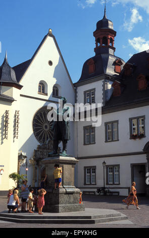 DEU, Germany, Koblenz, the town hall at the Jesuiten square and the Johann-Mueller monument.  DEU, Deutschland, - Stock Photo