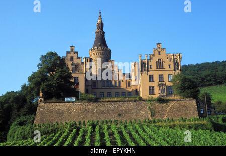 DEU, Germany, Bad Hoenningen, castle Arenfels.  DEU, Deutschland, Bad Hoenningen, Burg Arenfels. - Stock Photo