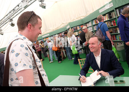 Hay Festival, Powys, Wales - May 2015 - Author Andrew O'Hagan at the Hay Festival signing copies of his latest book - Stock Photo