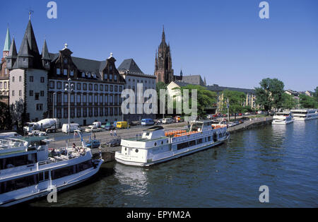 DEU, Germany, Hesse, Frankfurt, river Main, Rententurm and Saalbau, Bernusbau und Kaiserdom.  DEU, Deutschland, - Stock Photo