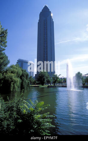 DEU, Germany, Hesse, Frankfurt, the Messeturm, Tower of the exhibition.  DEU, Deutschland, Hessen, Frankfurt am - Stock Photo
