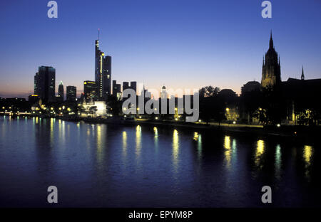 DEU, Germany, Hesse, Frankfurt, view across the river Main to the skyscrapers of the financial district and the - Stock Photo