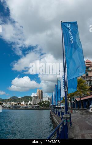 Mauritius, Port Louis, Caudan waterfront, port, and harbor area. - Stock Photo