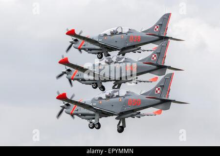 PZL 130 Orlik aircraft of the Polish aerobatic team - Stock Photo